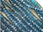Czech Glass Fire Polished Rondel Spacer Bead 6x3mm,  Dark Aqua Azuro Coated, (Pkg of 300 Pieces)