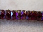 Czech Glass Fire Polished Rondel Spacer Bead 6x3mm,  Garnet AB Coated, (Pkg of 300 Pieces)