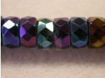 Czech Glass Fire Polished Rondel Spacer Bead 8x4mm, Blue Iris, (Pkg of 300 Pieces)