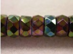 Czech Glass Fire Polished Rondel Spacer Bead 8x4mm, Green Iris, (Pkg of 300 Pieces)