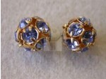 Czech Rhinestone Ball 10mm Light Sapphire in Gold Setting