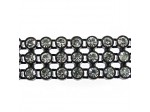 Czech Rhinestone Plastic Banding, 3-row Crystal Stone in Black Setting, ss15
