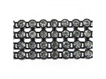 Czech Rhinestone Plastic Banding, 4-row Crystal Stone in Black Setting, ss15