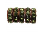 3.5mm Hole Rhinestone Rondel Olive Antique Copper