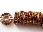 3.5mm hole Rhinestone Rondel Topaz/Antique Copper