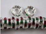 Czech Rhinestone Rondelle Holiday Mix 8mm, Silver Setting  3.5mm Hole