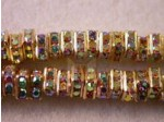 Czech Rhinestone Squaredelle 4mm, Crystal AB in Gold Setting