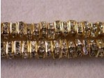 Czech Rhinestone Squaredelle 4mm, Crystal in Gold Setting