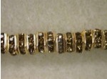 Czech Rhinestone Squaredelle 4mm, Smokey Topaz in Gold Setting