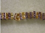 Czech Rhinestone Squaredelle 4mm, Light Amethyst in Gold Setting