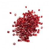 "Czech Seed Bead Bugle 2 Cut, Ruby Silver Lined, 11"","