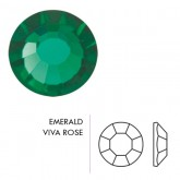 Preciosa Czech Crystal Sew-on Loch Rose, Emerald Silver Lined 3mm