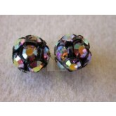 Czech Rhinestone Ball 10mm, Crystal AB in Black Setting