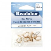 Ear Wires, Lever Back, Plain, Gold Color, 6 Pieces Per Pack