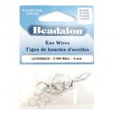 Ear Wires, Lever Back, Ball, Silver Plated, 4 Pieces Per Pack