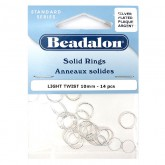 Solid Rings, 10 mm (.4 in), Light Twist, Silver Plated,14 Pieces Per Pack