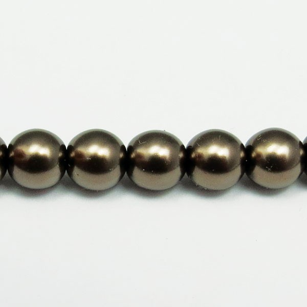 Czech Glass Smooth Round Pearl Bead 6mm, Deep Mocha (Pkg of 300 Pieces)