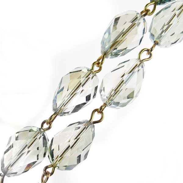 Czech Linked Rosary Chain, 12mm Viridian Pear Cut Crystal Beads, Gold Linked Chain, (Sold by the Meter)