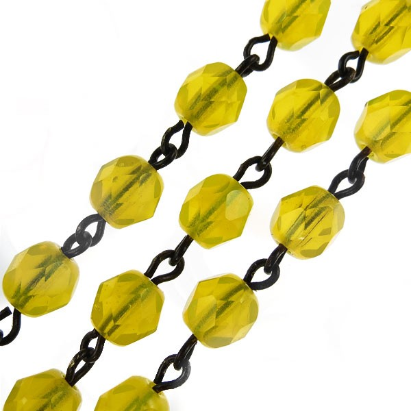 Czech Linked Rosary Chain, 6mm Milky Yellow Faceted Beads, Brass Linked Chain, (Sold by the Meter)