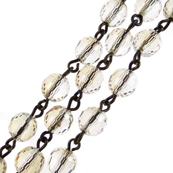 Czech Linked Rosary Chain, 6mm Rich Cut Round Crystal Clarit Beads, Brass Linked Chain, (Sold by the Meter)