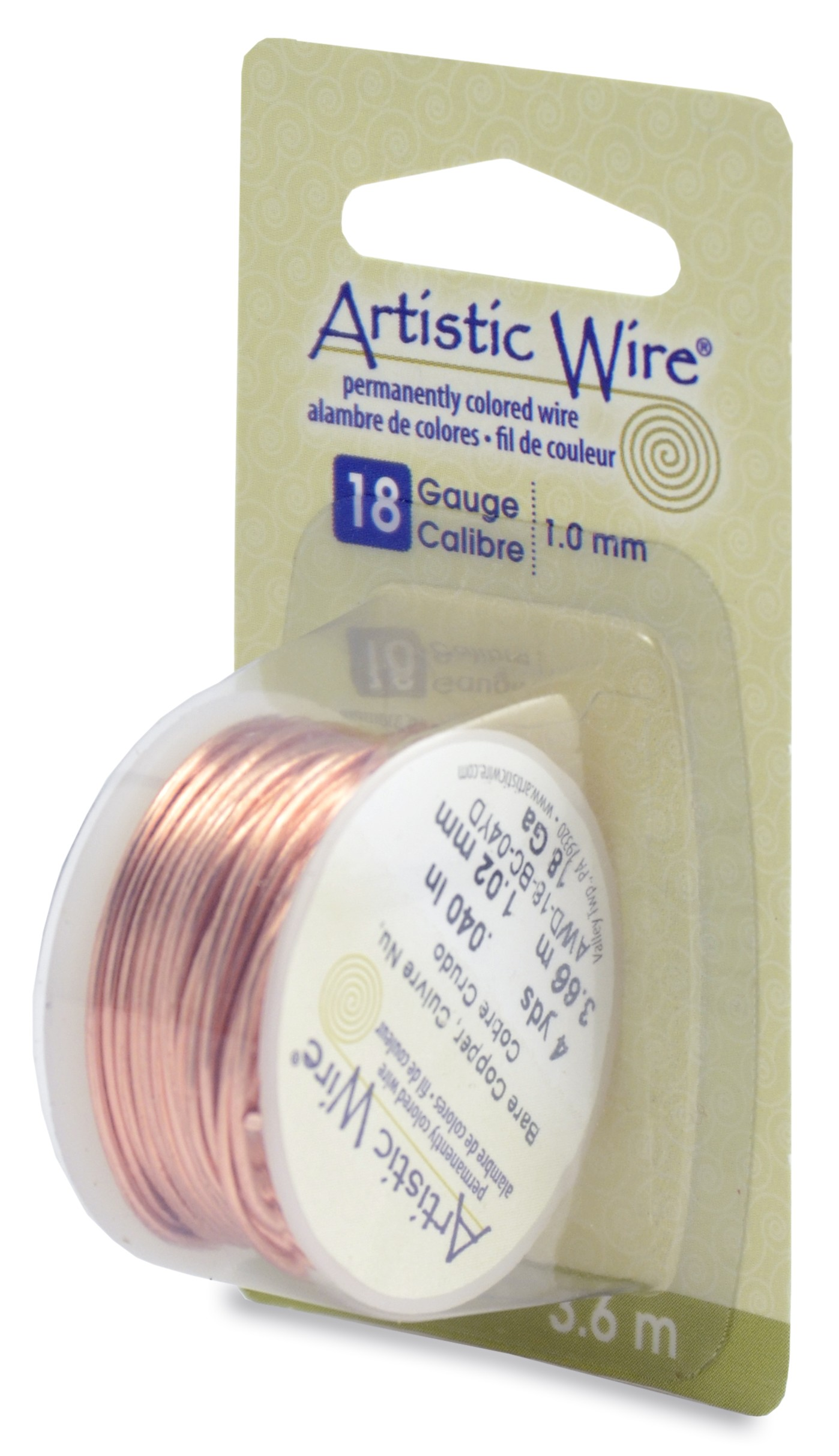 Artistic Wire, 18 Gauge (1.0 mm), Bare Copper, 4 yd (3.6 m)