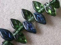 Czech Pressed Glass Leaf Bead 10x6mm, Kelly Green Azuro Coated (Pkg of 300 Pieces)
