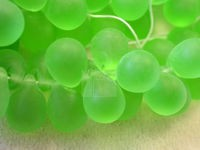 Czech Pressed Glass Teardrop Bead 10x14mm, Peridot Matte (Pkg of 300 Pieces)