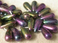 Czech Pressed Glass Teardrop Bead 11x5mm, Purple Iris (Pkg of 300 Pieces)