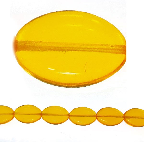Czech Pressed Glass Flat Oval Bead 12x9mm, Yellow (Pkg of 300 Pieces)