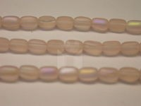 Czech Pressed Glass Rice Bead 6x4mm, Rose Matte AB (Pkg of 300 Pieces)