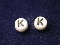 Czech Pressed Glass Alphabet Bead 6mm White Bead, Black Letter K (Pkg of 144 Pieces)