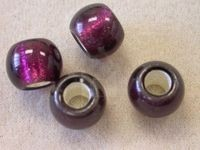 Czech Glass 12mm Roller Bead, 5mm Hole, Amethyst Silver Lined Center (Pkg of 150 Pieces)