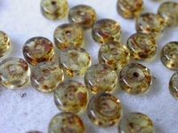 Czech Pressed Glass Round Smooth Spacer Bead 3x6mm, Topaz Marble (Pkg of 300 Pieces)