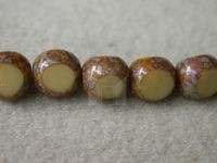 Czech Round 3 Cut Bead 8mm, Opaque Coffee Marble (Pkg of 300 Pieces)