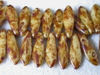 Czech Pressed Glass Dagger Bead 16x5mm, Coffee Marble (Pkg of 300 Pieces)