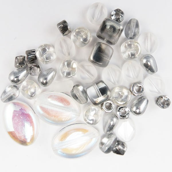 Czech Pressed Glass Bead Mix, Crystal & Silver, Approx 38 Beads