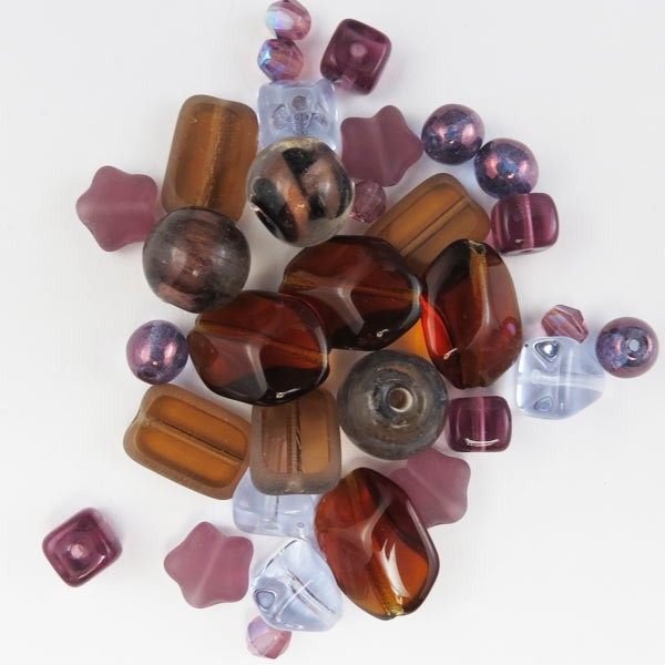 Czech Pressed Glass Bead Mix, Very Berry, Approx 33 Beads