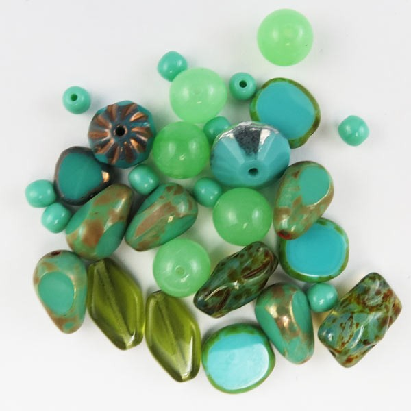 Czech Pressed Glass Bead Mix, Green Turquoise, Approx 29 Beads