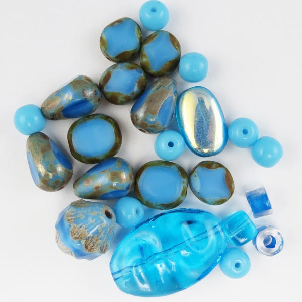 Czech Pressed Glass Bead Mix, Oceanic, Approx 24 Beads