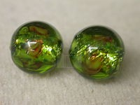Czech Glass Foil Flower Lampwork Bead 12mm,  Olive Green