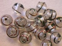 Czech Glass Lampwork Bead Swirl Design 6mm, Clear Bronze Opaque