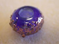 Czech Glass Metallic Speckled Lampwork Rondel Bead 13x7mm (5mm Hole), Navy Blue