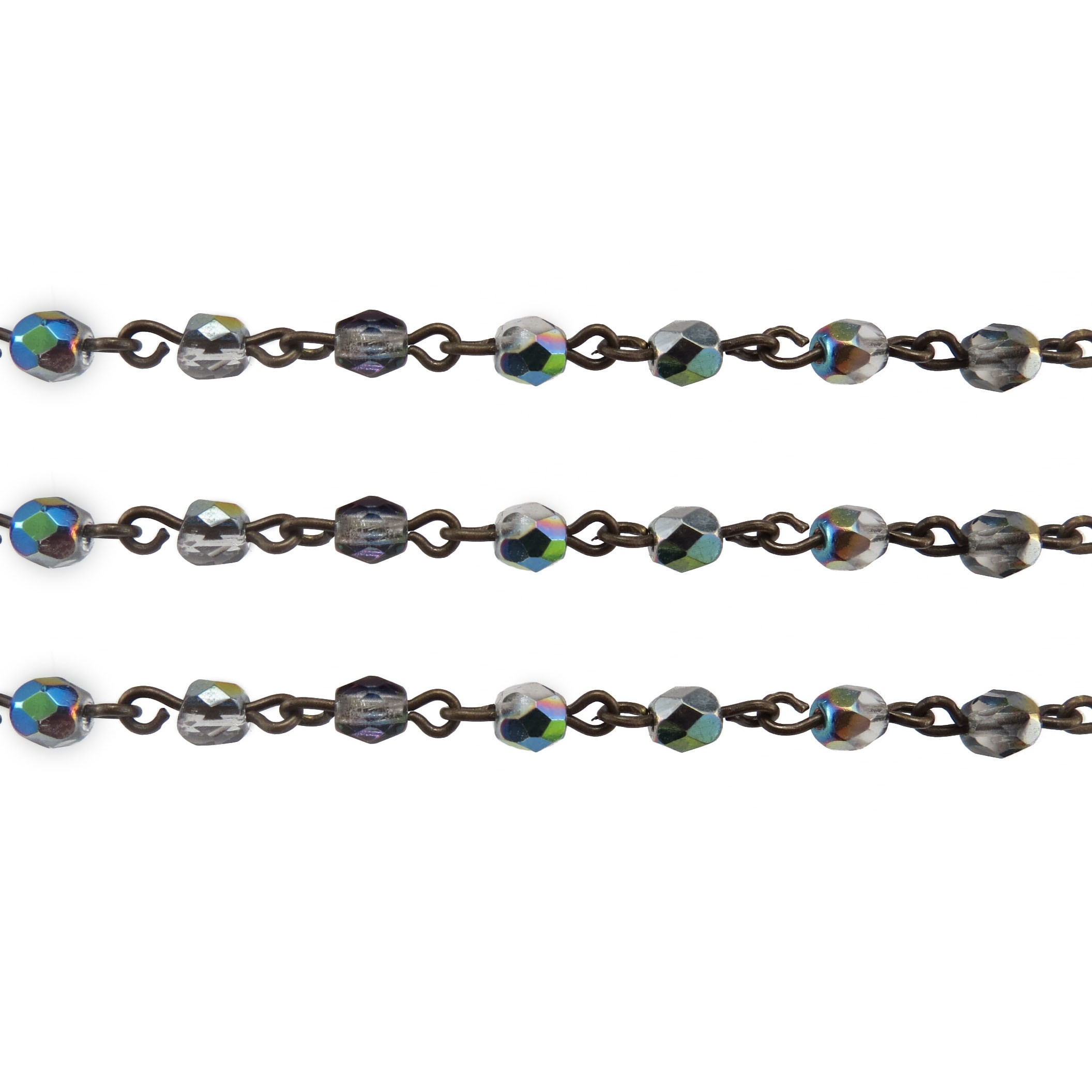 Czech Linked Rosary Chain, 4mm Crystal Marea Faceted Bead, Brass Linked Chain, (Sold by the Meter)
