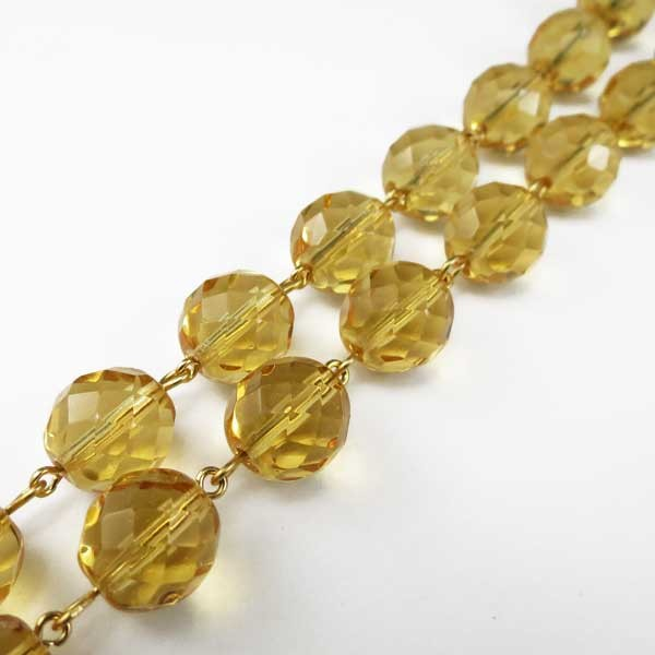 Czech Linked Rosary Chain, 4mm Amber fp4m Faceted Beads, Black Linked Chain, (Sold by the Meter)