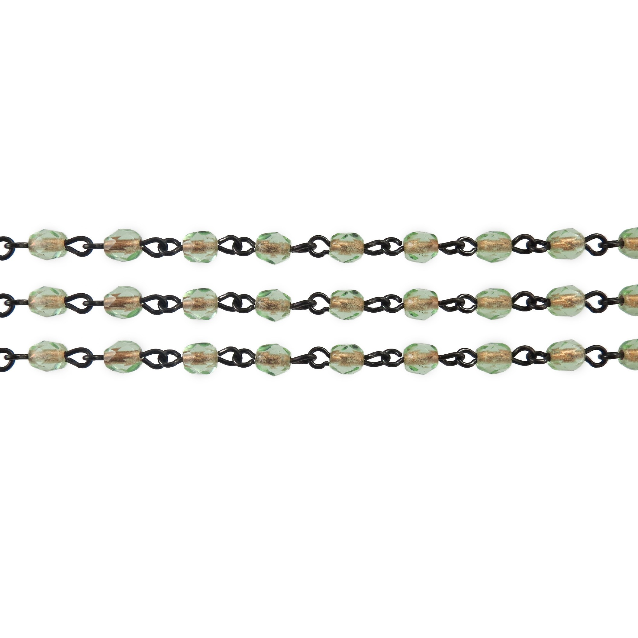 Czech Linked Rosary Chain, 4mm Peridot  Faceted Bead, Brass Linked Chain, (Sold by the Meter)