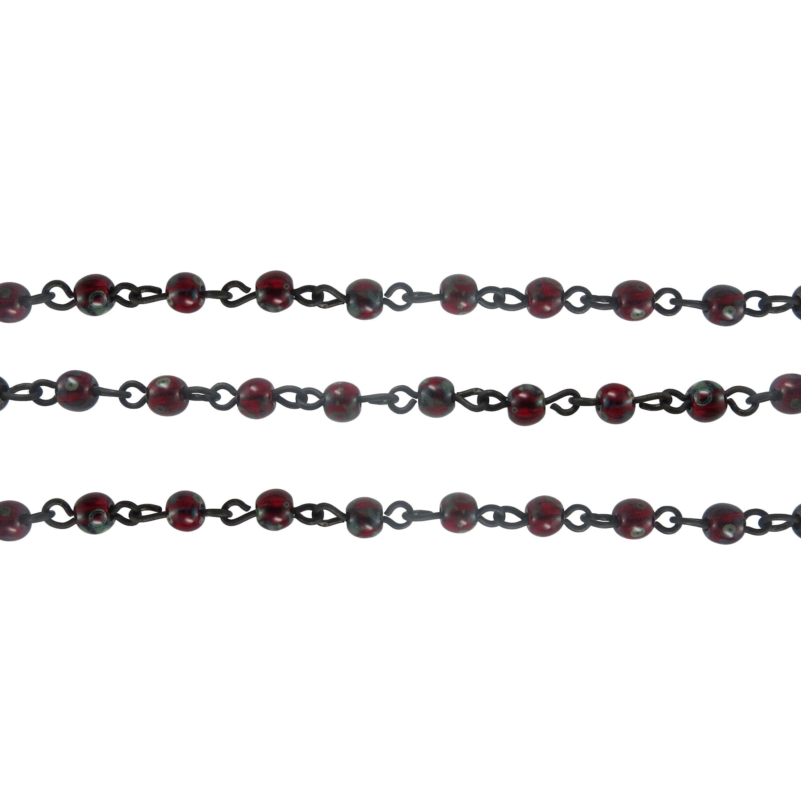 Czech Linked Rosary Chain, 4mm, Round Ruby Marble, Black Link (Sold by the Meter)
