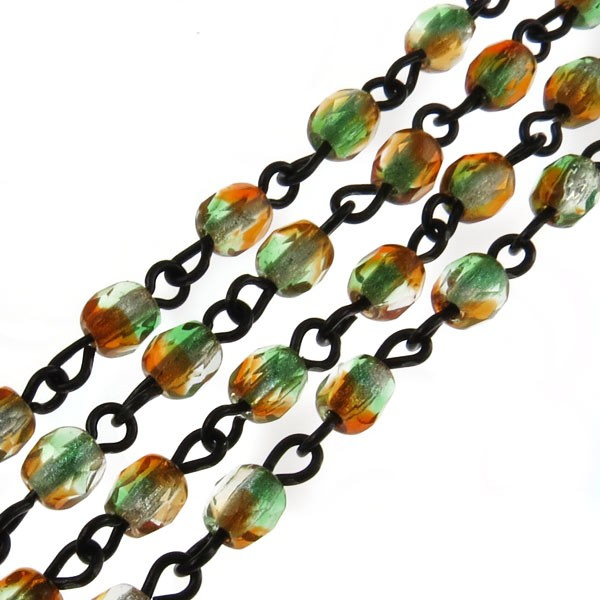 Czech Linked Rosary Chain, 4mm Orange/Kelly 2-Tone Faceted Beads, Black Linked Chain, (Sold by the Meter)