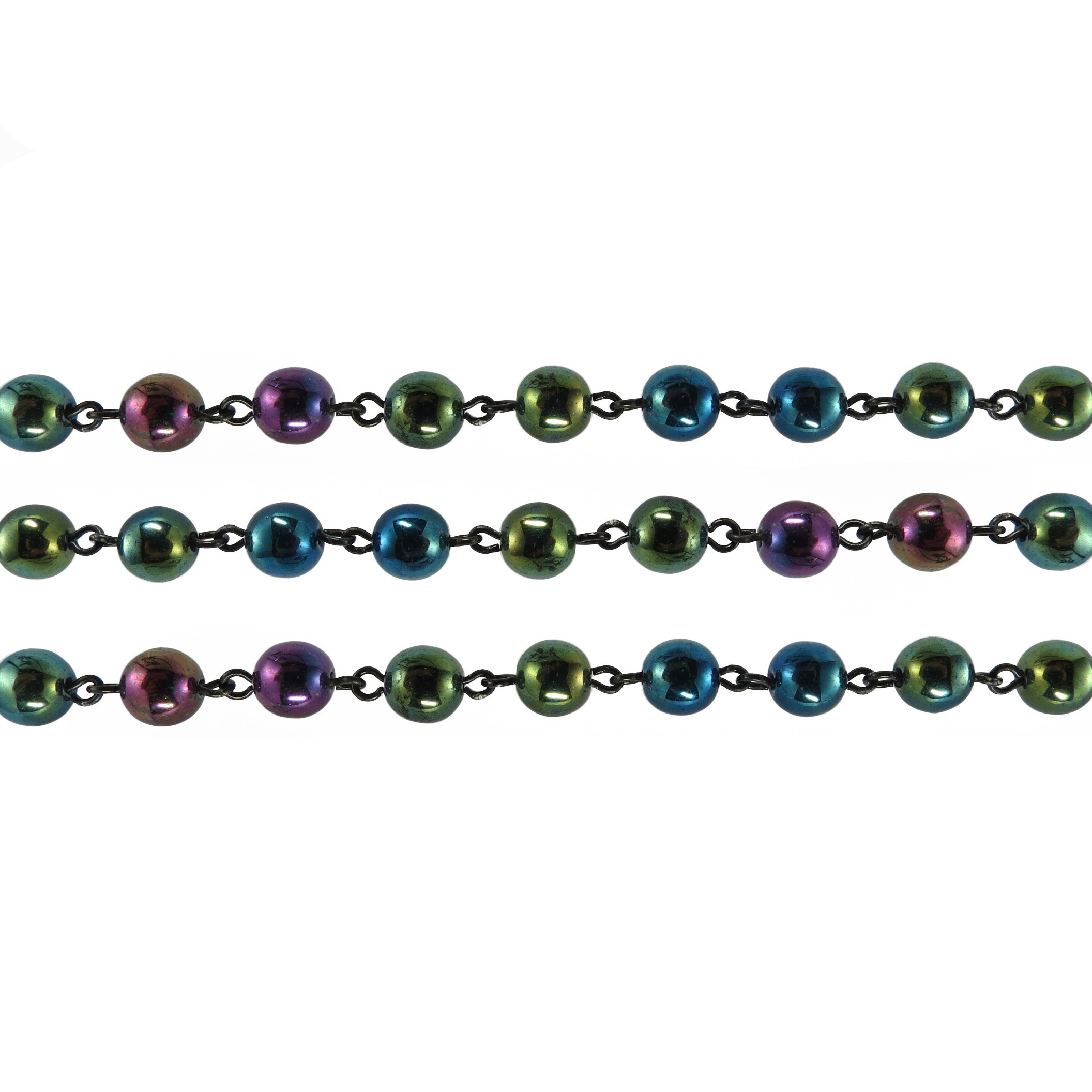 Czech Linked Rosary Chain, 6mm Green Iris Druk Bead, Black Linked Chain, (Sold by the Meter)
