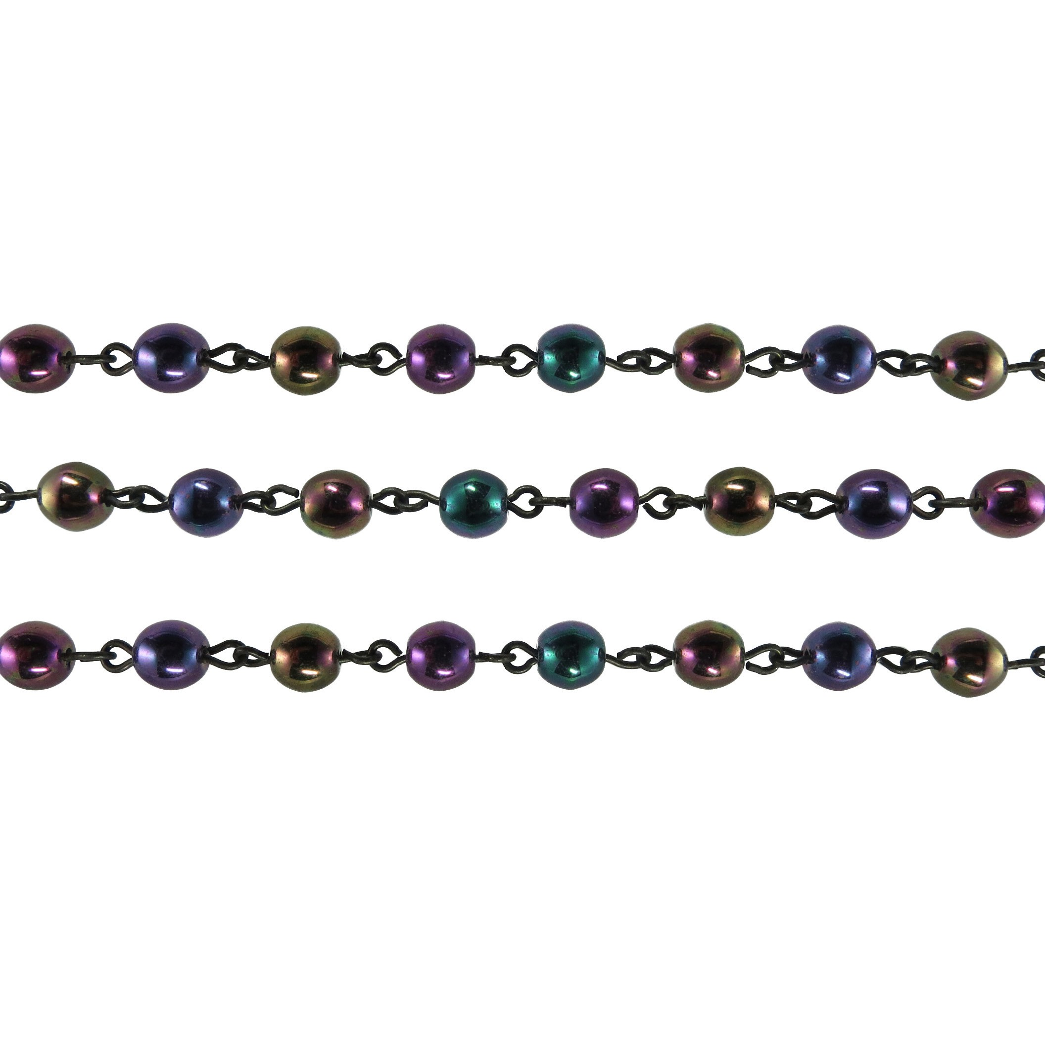 Czech Linked Rosary Chain, 6mm Purple Iris Druk Bead, Black Linked Chain, (Sold by the Meter)
