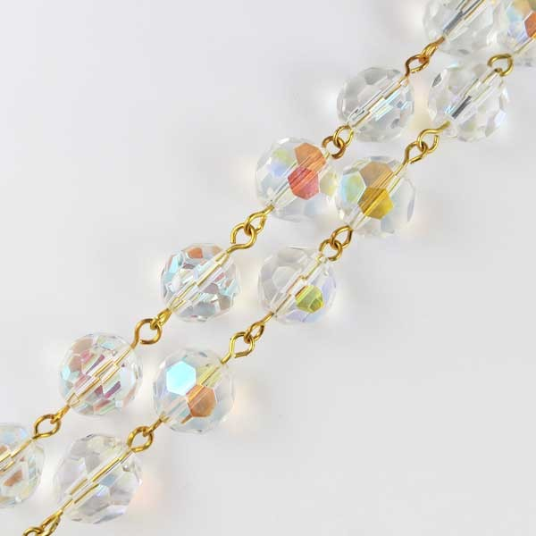 Czech Linked Rosary Chain, 12mm Clear Crystal AB Round Beads, Gold Linked Chain, (Sold by the Meter)